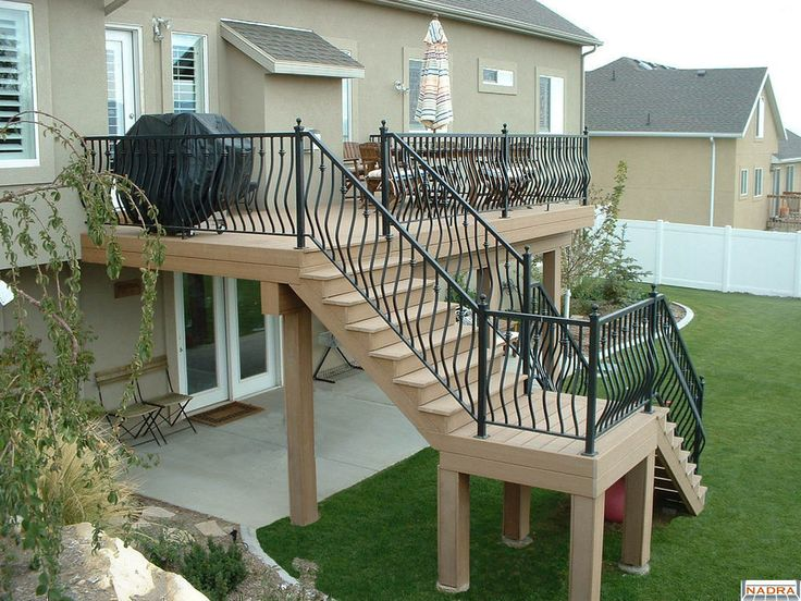 117 best images about yard ideas and such on pinterest for Second story decks with stairs