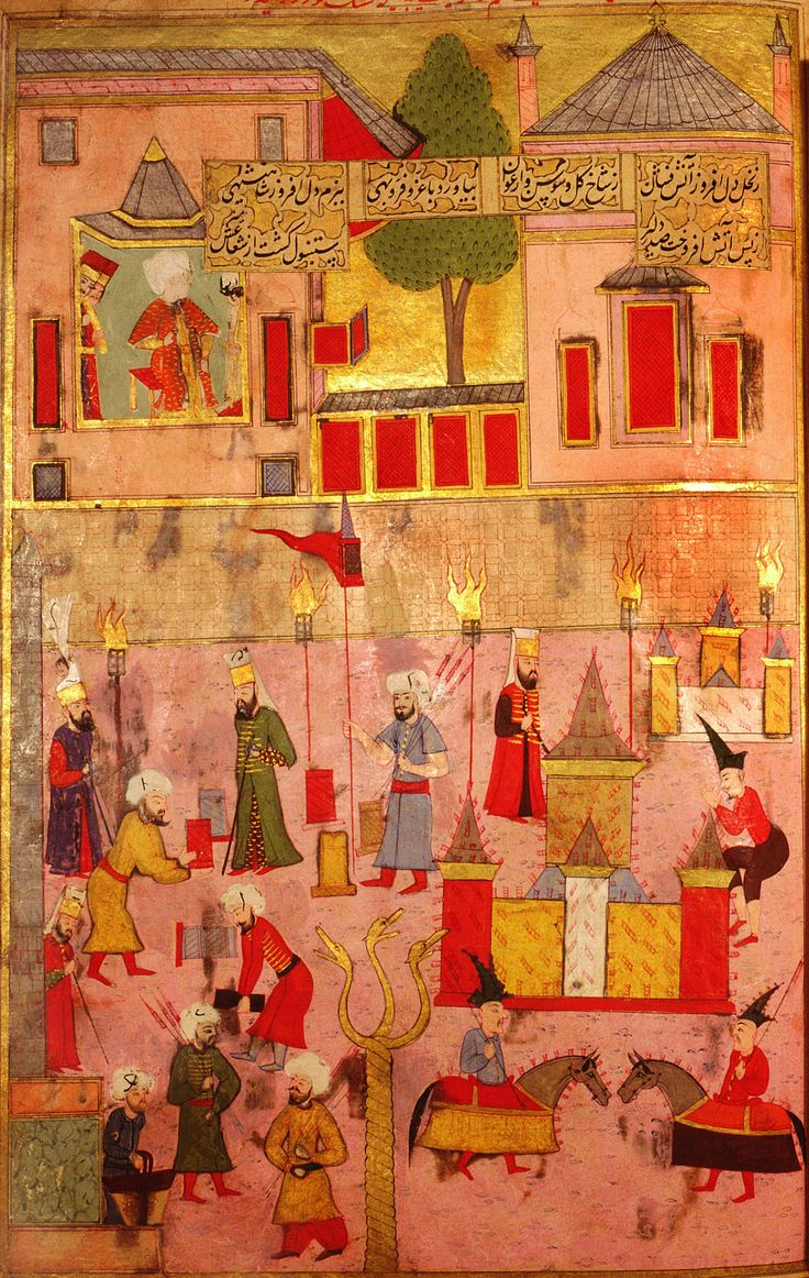 A firework display - Episode from the circumcision ceremonies of the future Mehmed III, in 1582.