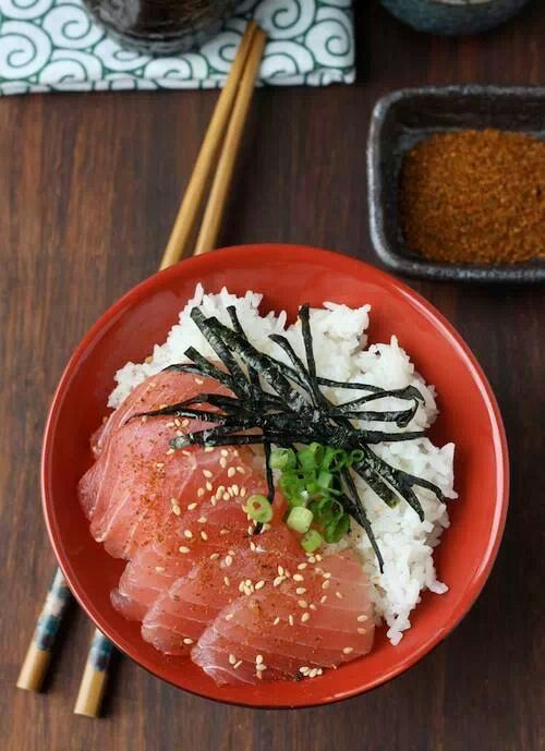 """"""" Maguro-Don """" is a bowl cuisine that has """" slice of tuna """" and """" Several Condiments """" over the venegared rice. #Japan"""