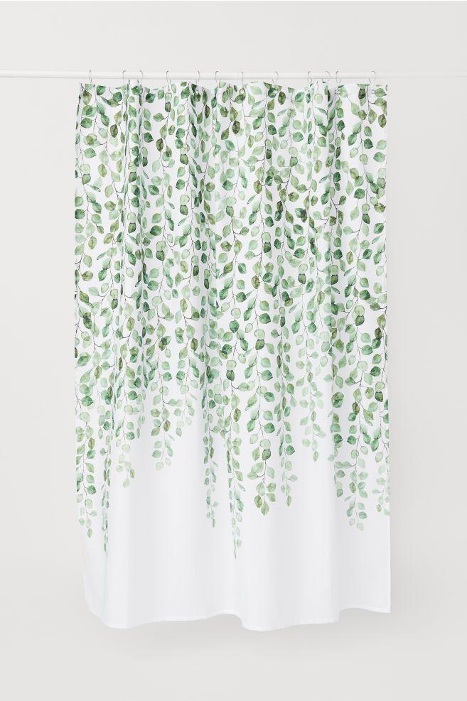 Patterned Shower Curtain White Leaf Patterned Home All H M Us Patterned Shower Curtain White Shower Curtain Bathroom Shower Curtains