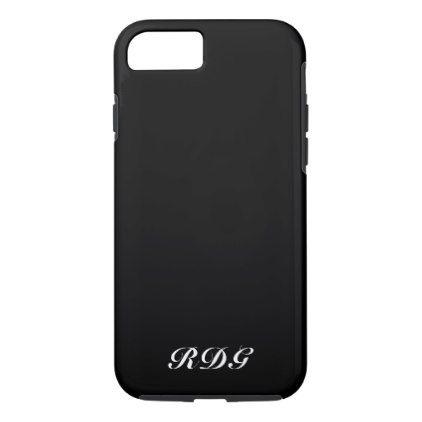Black Modern Professional With White Monogram iPhone 8/7 Case - chic design idea diy elegant beautiful stylish modern exclusive trendy
