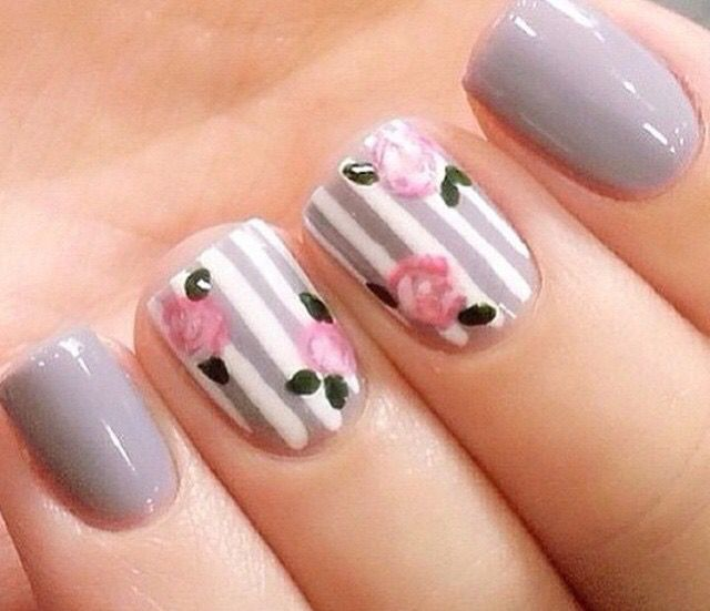 So pretty. Gray stripe and floral nail art design ideas