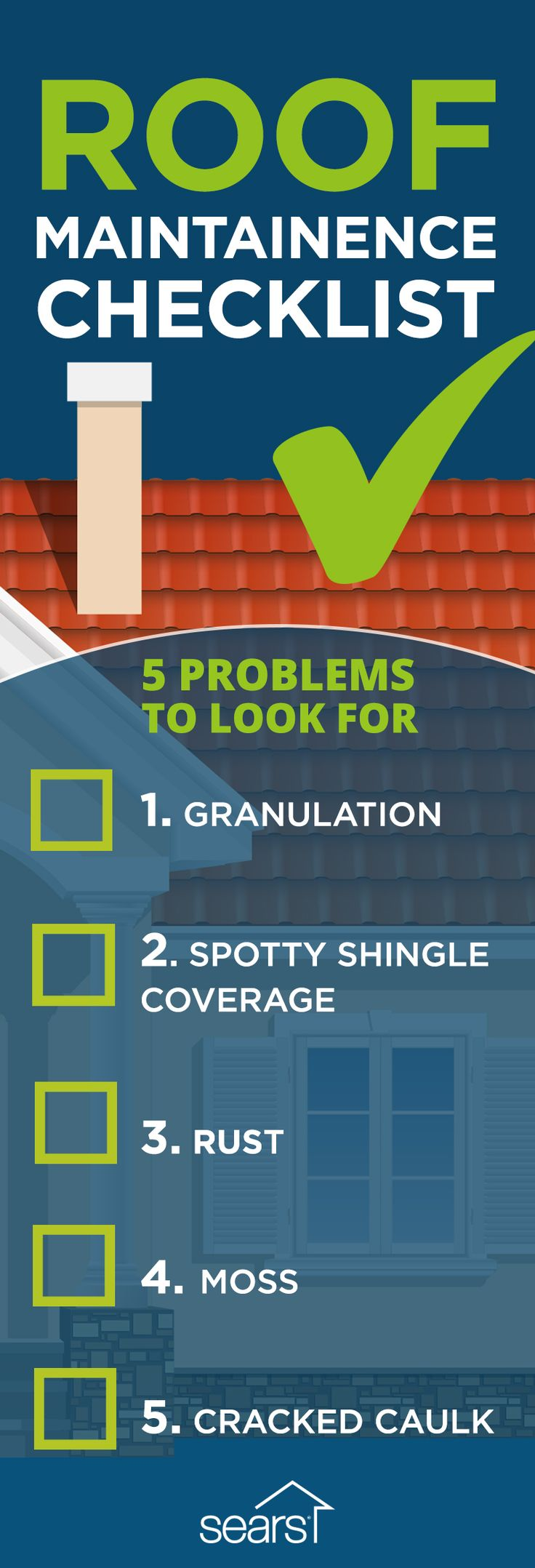 Use this roof maintenance checklist as you walk the perimeter of your home to assess roof damage that could cause major issues down the road. There are a few things you can safely check from the ground below to assess the situation up above. The five big problems to look for include granulation, spotty shingle coverage, rust, moss and cracked caulk. Visit the Sears Home Services blog to learn more about how to spot roofing problems.