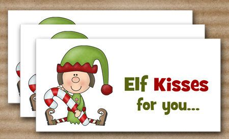 Elf Kisses Treat Bag Topper, Christmas Treat Bag Topper, Holiday Treat ...