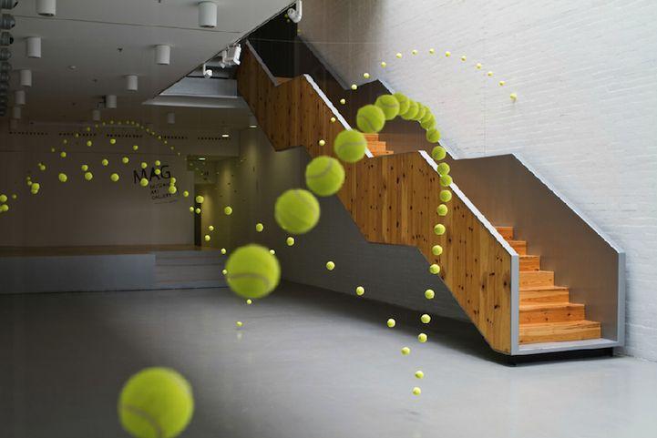 Gorgeous installation using 2000 tennis balls!