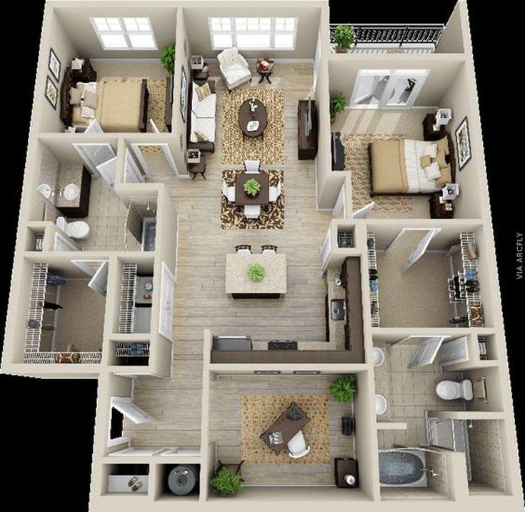 Dekorasi Rumah Minimalist 50 Denah Rumah Minimalis 3d 3 Kamar Tidur 2 Lantai Dan 2 Kamar Tidur 3d House Plans House Floor Plans Apartment Floor Plans Floor plan your house