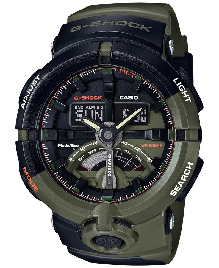 G-Shock Men's Analog-Digital Chari & Co. Black/Green Resin Strap Watch 49mm GA500K-3A - Limited Edition