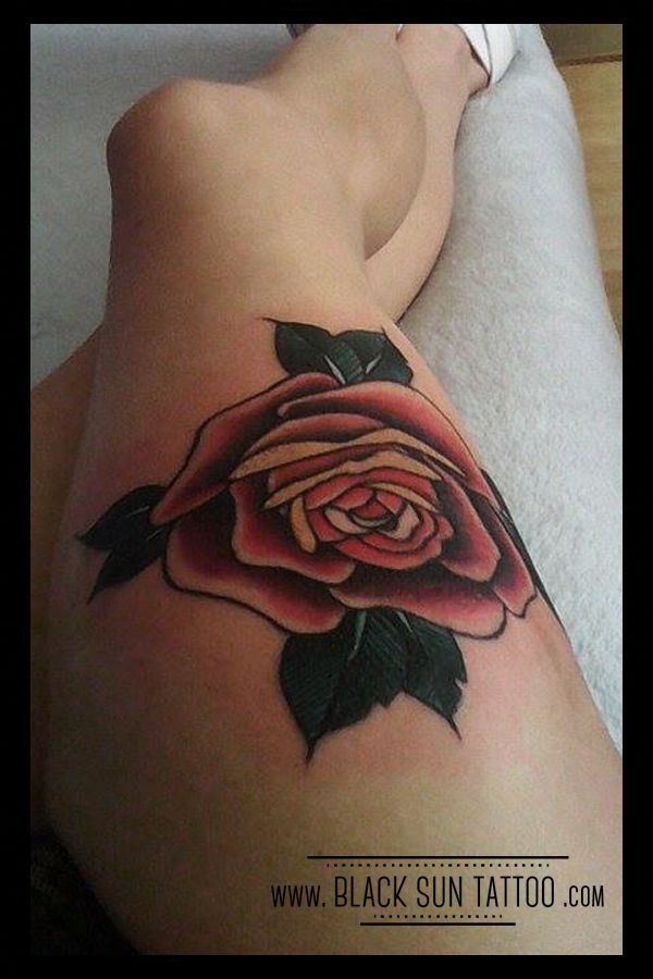 Tattoo by Black Sun Tattoo, Warsaw, Poland #rose #rosetattoo #oldschooltattoo #oldschoolrosetattoo #neotraditionaltattoorose #neotraditionaltattoo #traditionaltattoo #traditionalrose #redrose #womenstattoo #thightattoo #blacksuntattoo