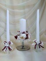 Семейный очаг, набор из 3-х свечей, бордовый