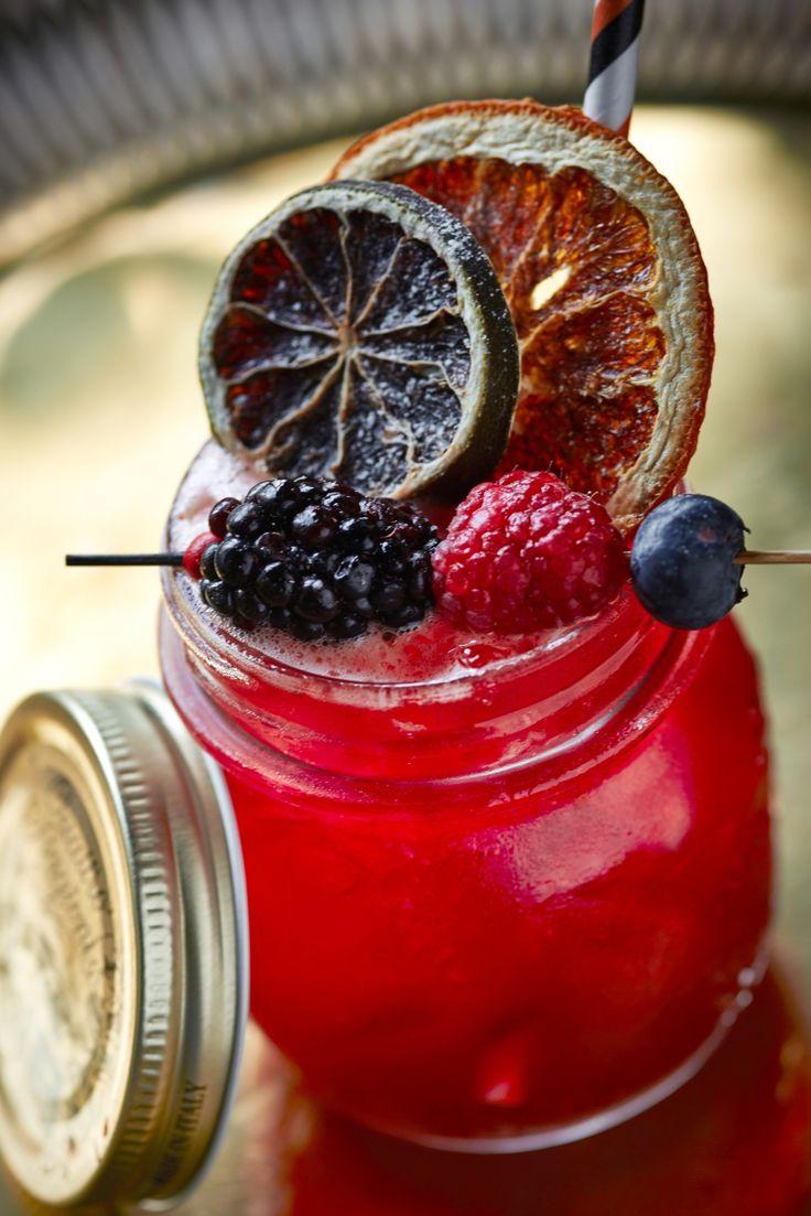 """Pump Up the Jam.""  White rum, home-made mixed berry jam, lemon juice, hibiscus rooibos tea, drop of Tabasco."