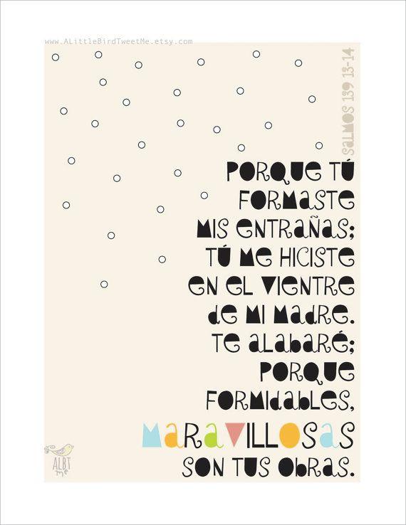 Scripture Spanish Art.Salmos 139:13-14. Tipografia. Arte para Bebe. Regalos Cristianos. Spanish Christian Gifts. Inspirational Artwork.