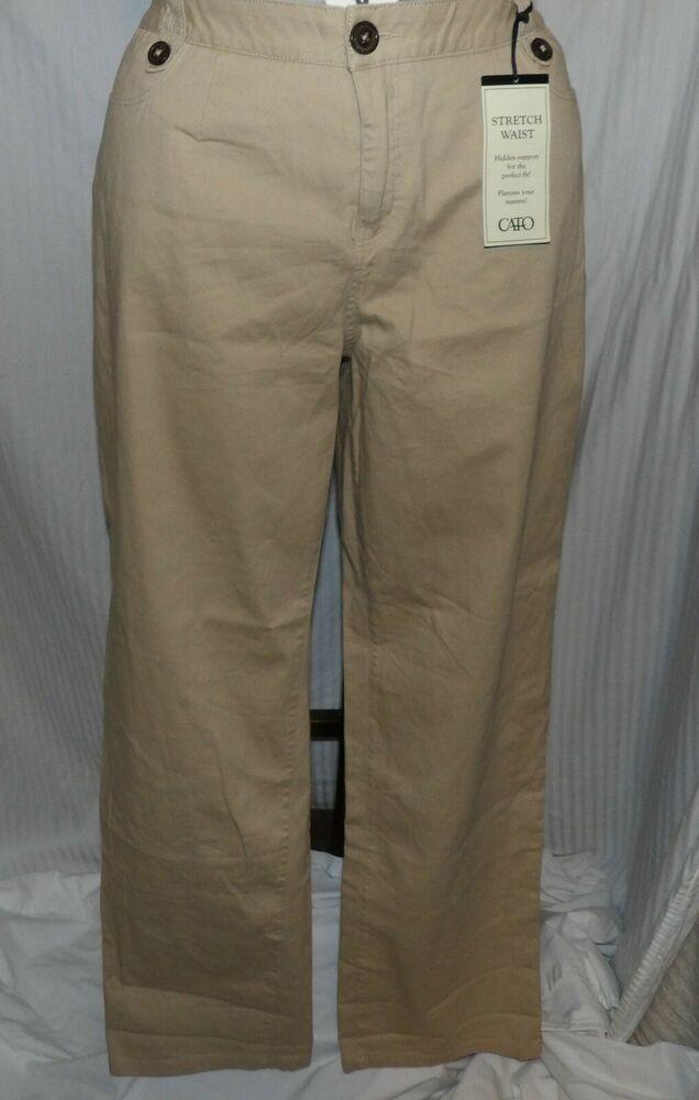 5dfe45c9c3 Cato Women's Khaki Pants Boot Cut Stretch Waist Hidden Support Size 16W NWT  #fashion #