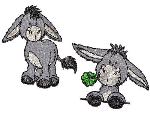 2 tlg. Set Nici Esel 6,8 cm * 5,8 cm Bügelbild Aufnäher Applikation - Pferd steht grau Tier Bauernhof Tiere Hausesel Klee Glück
