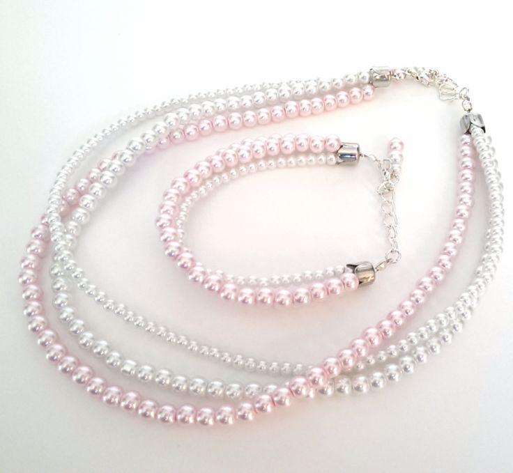 Komplet biżuterii z perły szklanej