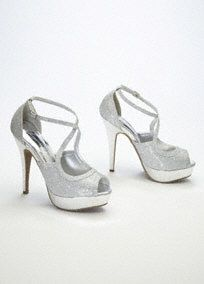 Davids Bridal Silver Peep Toe Glitter X Face Pump Style Pandora Sparkle And Shine On Any Dance Floor In These Gorgeous Platform Heels