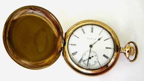 Reloj de bolsillo Elgin de oro antiguo caso de Hunter S12