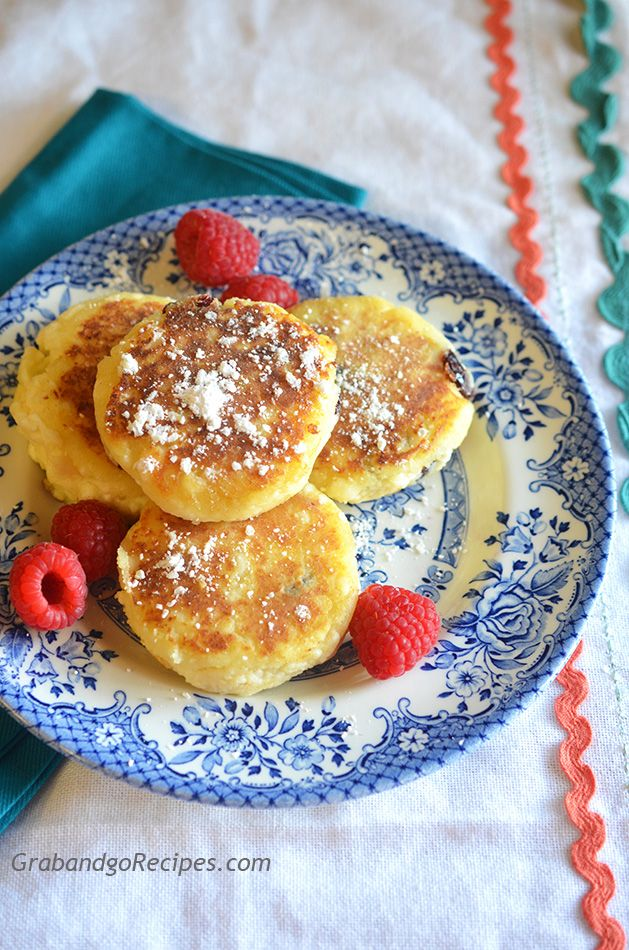 Syrniki also known as Farmers Cheese Pancakes are one of my favorite childhood breakfasts. Traditionally they served with sour cream, jam or honey