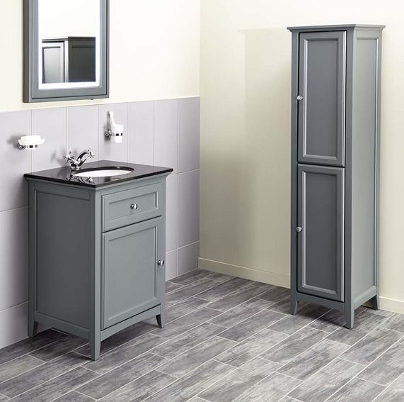 Savoy Charcoal Grey 600 Basin Unit - With Granite Top And Basin | bathstore