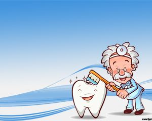 Free Dentist Powerpoint Template with blue background and teeth