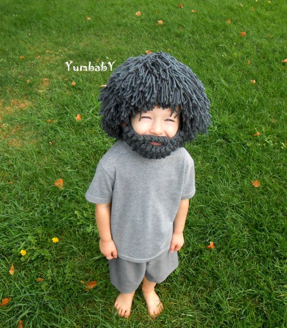 Wig Beard Hat Halloween Costume Any Color Hobo Mad by YumbabY, $29.95