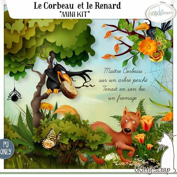 minikit Le Corbeau et le Renard by KittyScrap http://digital-crea.fr/shop/index.php?main_page=product_info&cPath=129&products_id=21143&zenid=e84c8144495f85149d178ca1a2be049f