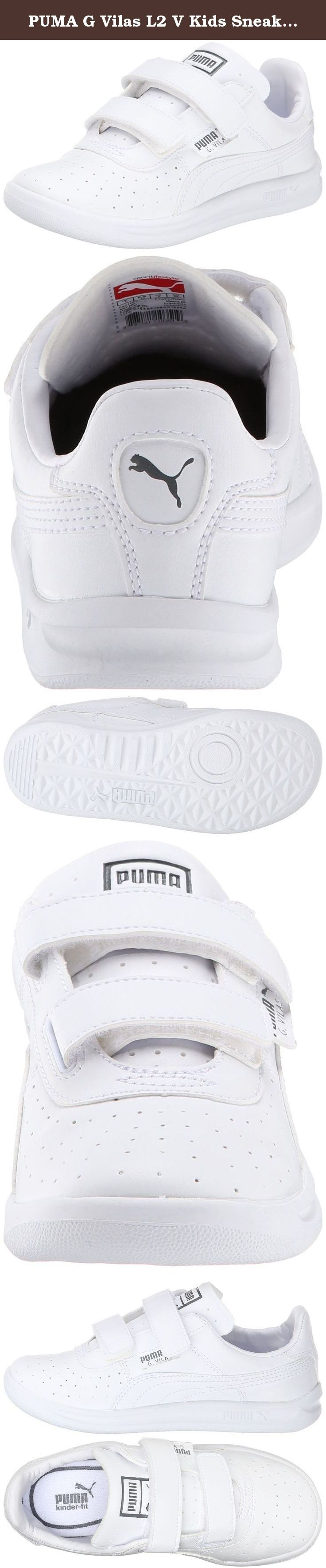 PUMA G Vilas L2 V Kids Sneaker (Toddler/Little Kid/Big Kid), White/Steel Gray,7 M US Toddler. Perforated sneaker featuring dual hook-and-loop straps and tonal Formstrip overlay at sides. Padded tongue and collar.