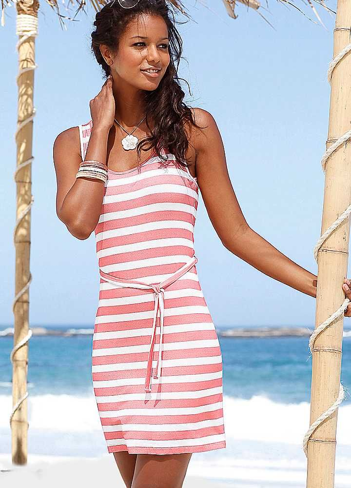 Beachtime Coral Striped Beach Dress #AW12
