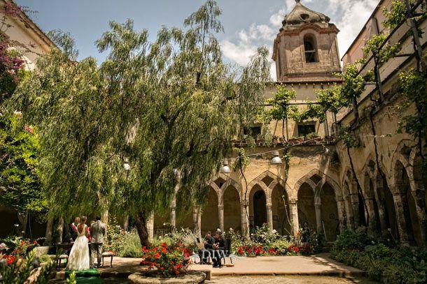 Sorrento wedding ceremony at the Saint Francis Cloisters