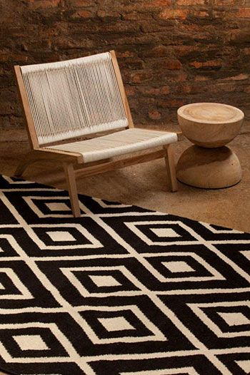 CG&H stock the new Geometry rugs Hertex. There are four outstanding colourways with an oversized geometric woven design in these casual, yet sophisticated cotton/wool Geometry rugs. 70% wool, 30% cotton..