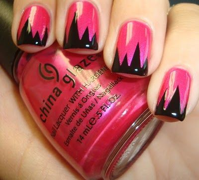 .: Nails Art, French Manicures, Nails Design, China Glaze, Black Nails, Nails Polish, French Tips, French Nails, Pink Black