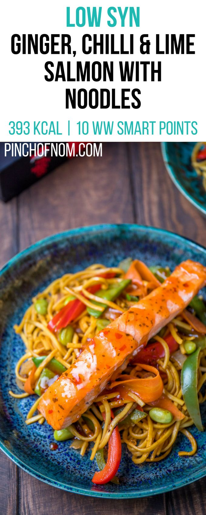 Low Syn Ginger, Chilli & Lime Salmon with Noodles | Pinch Of Nom Slimming World …