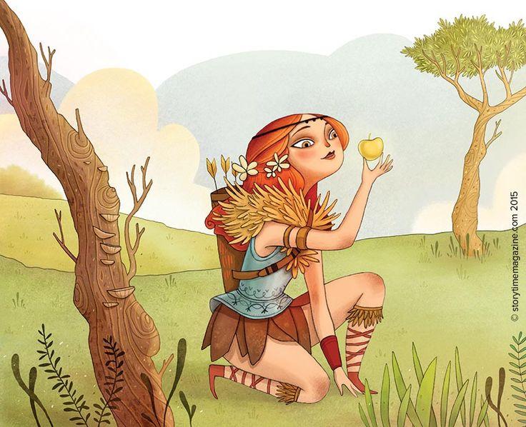 The amazing Greek heroine Atlanta! Illustrated by Ana Varela (http://anavarela-ilustracion.blogspot.co.uk) for Storytime Issue 14 ~ STORYTIMEMAGAZINE.COM