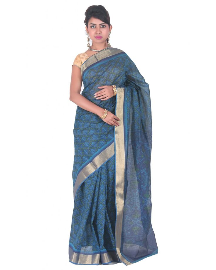 Organic royal blue color withgolden jari bordersaree, made from cotton blend. Itsmeasuring about 5.5m in length and comes with an unstitched blo