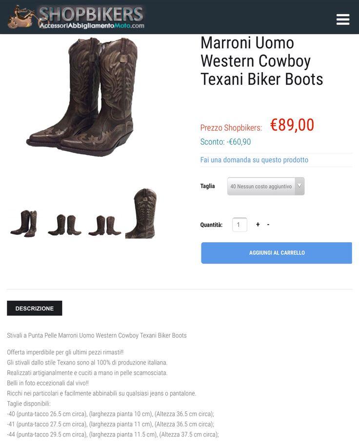Stivali a Punta Pelle Marroni Uomo Western Cowboy Texani Biker Boots 100% di produzione italiana.  Realizzati artigianalmente e cuciti a mano in pelle scamosciata.  Taglie disponibili: -40 (punta-tacco 26.5 cm circa), (larghezza pianta 10 cm), (Altezza 36.5 cm circa); -41 (punta-tacco 27.5 cm circa), (larghezza pianta 11 cm), (Altezza 36.5 cm circa); -44 (punta-tacco 29.5 cm circa), (larghezza pianta 11.5 cm), (Altezza 37.5 cm circa);  Ultimo pezzi rimasti SCONTATISSIMI da € 149,90 a €…