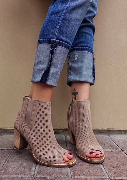 Stucco Suede Peep Toe Booties at TOMS Shoes - Trendslove