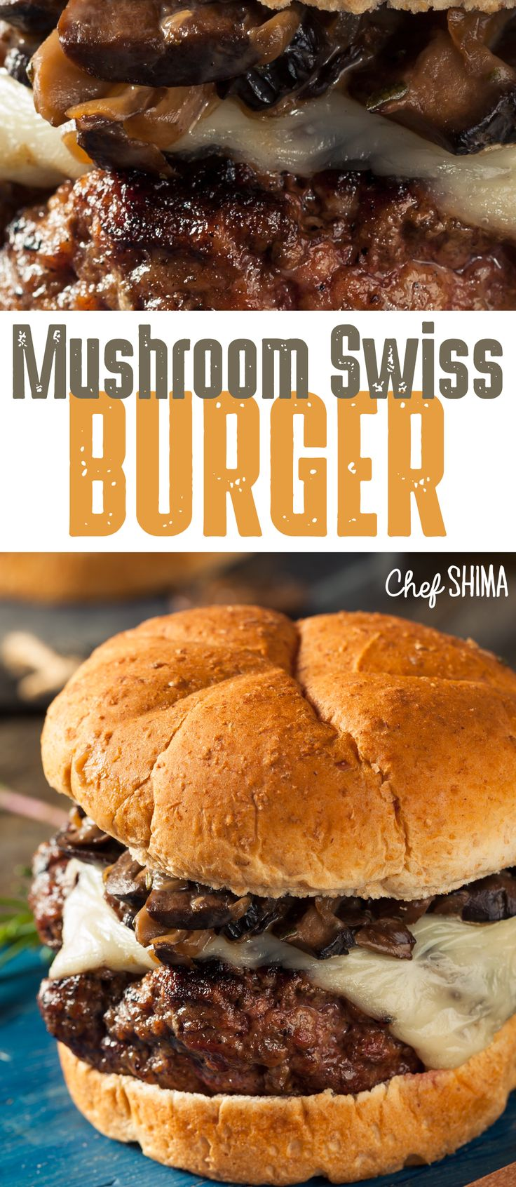 Mushroom Swiss Burger | This burger is so JUICY and TASTY! Better than what you get at a restaurant.