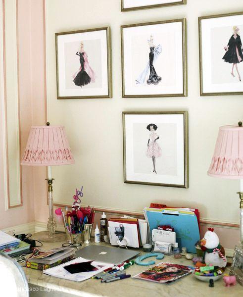 xoxo pink deskVintage Barbie, Fashion Sketches, Offices, Frames Prints, Work Spaces, Girls Room, Workspaces, Fashion Illustrations, Girl Rooms