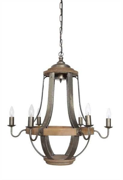 Wood and metal chandelier with 6 lights
