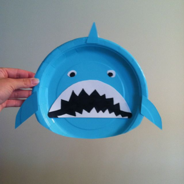 Paper plate Shark for a Mermaid/Under the Sea Birthday Party
