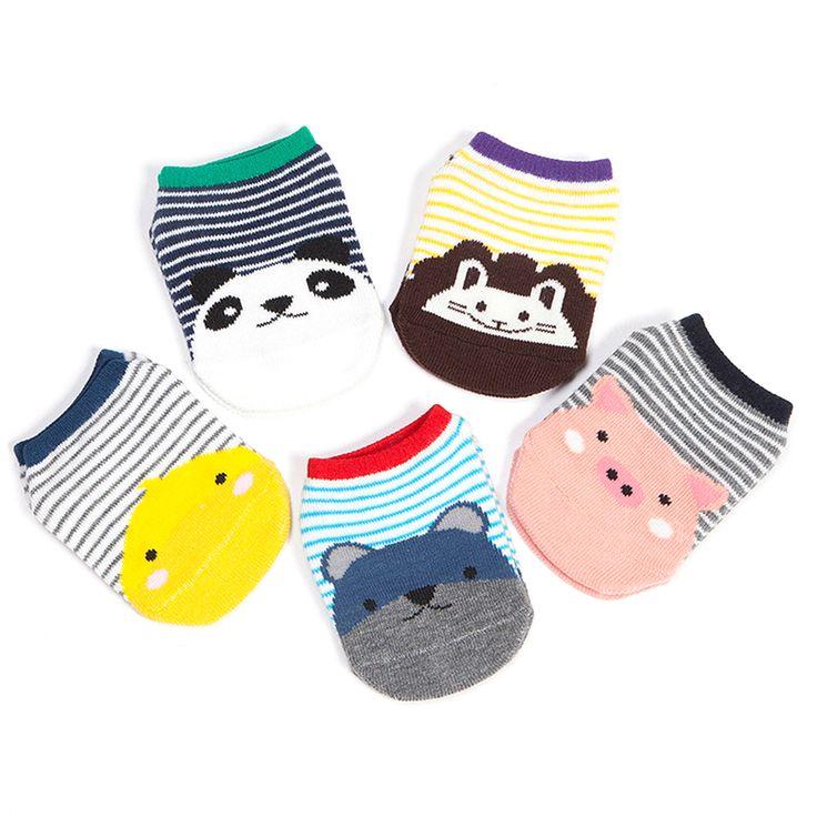 Newborn Infant Boy Girl Baby Socks Anti Slip Cotton Striped Print Animal Pig Lion Bear Panda Cute Short Socks