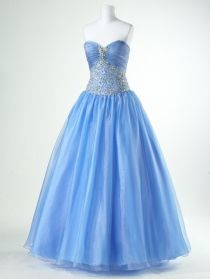 Dazzling Beaded Organza Strapless Ball Gown Prom Dress