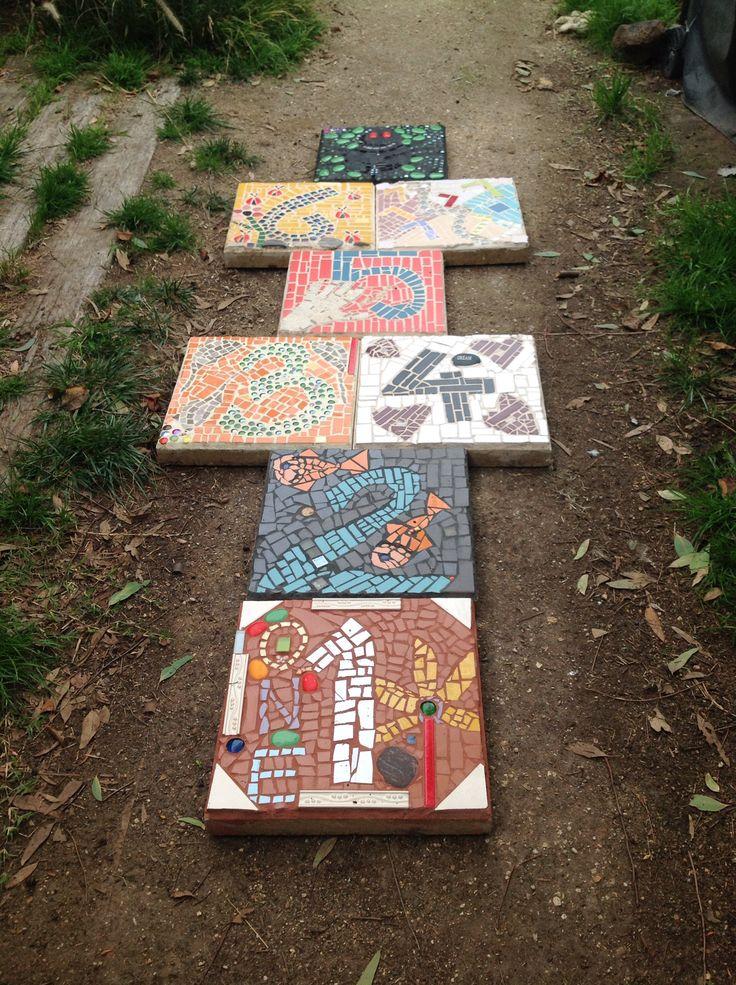 Mosaic hopscotch for the garden