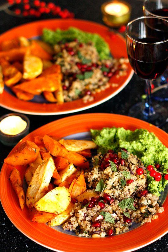 Pastinaak zoete aardappel - kruidige quinoa in portobello & kokos - erwtenmousse