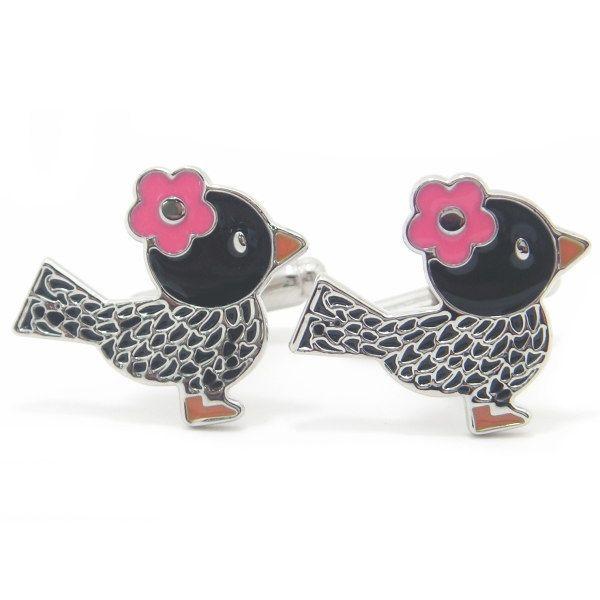 【カフスマニア】【レビューで送料無料】キュートな小鳥イラストモチーフのカフス(カフリンクス/カフスボタン)【あす楽対応】【楽ギフ_包装選択】【楽ギフ_メッセ入力】【楽天市場】