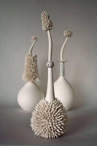 Porcelain forms by Scottish ceramic artist Lorna Fraser. via wasps studios