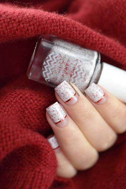 Marine Loves Polish: Painted Polish Red as Cherry Pie - Negative Space nail art - red striping tape - christmas nails - st valentine's nails