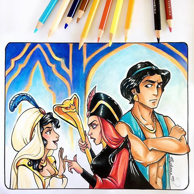 """🎼🎉Make way for Princess Allie 🎉 😆  .  Me thinks that the 'Prince Jaz' might seem like a spoiled rotten palace brat if he stomps off saying, """"I am not a prize to be won!"""" 😂  .  .   #genderbend #disney #disneyfilm #disneyfanart #disneyprincess  #aladdin #disneyprincesses #princessjasmine #jafar #jasmine #alladin #traditionalart #traditionaldrawing #prismacolorpencils #fanart #fanartist #disneyart"""