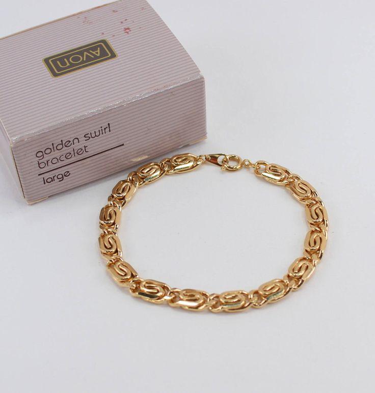 Vintage 1990 Avon Size LARGE Golden Swirl Goldtone Polished Glossy Gold Tone Link Traditional Preppy Bracelet in Original Box NIB by ThePaisleyUnicorn on Etsy