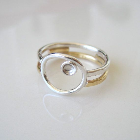 Brass and sterling silver ring modern simple Tide by BrookeJewelry