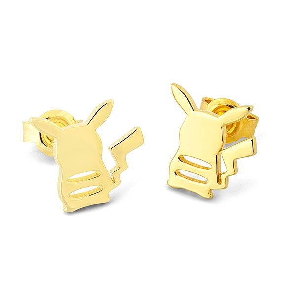 Pikachu is super cute from any angle, including the view from the back! Sterling silver earrings with gold PVD coating, show off the silhouette of the electric mouse Pokémon, with cutouts for his cute little back stripes.